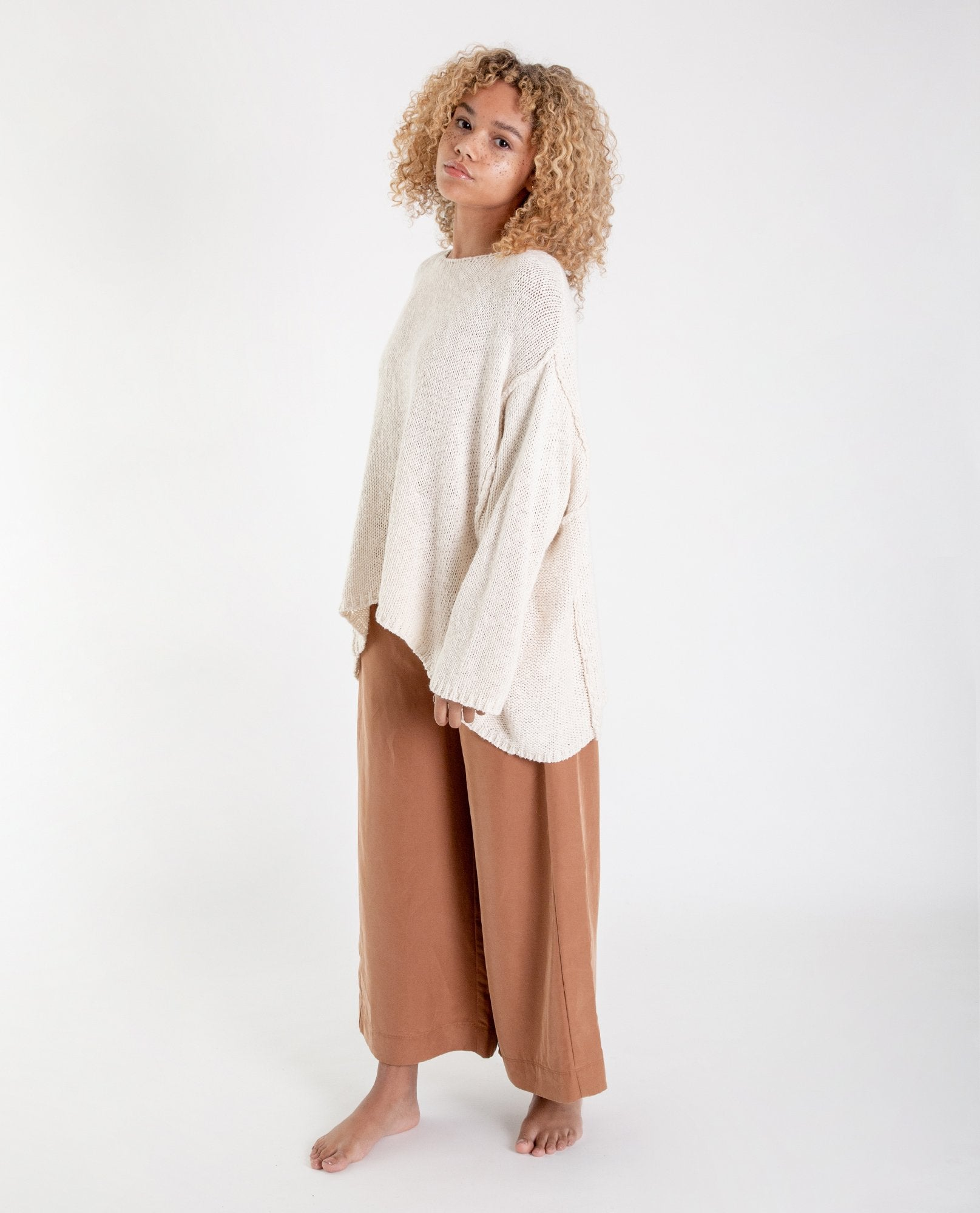 NICOLE-MARIA Modal Trousers In Coffee