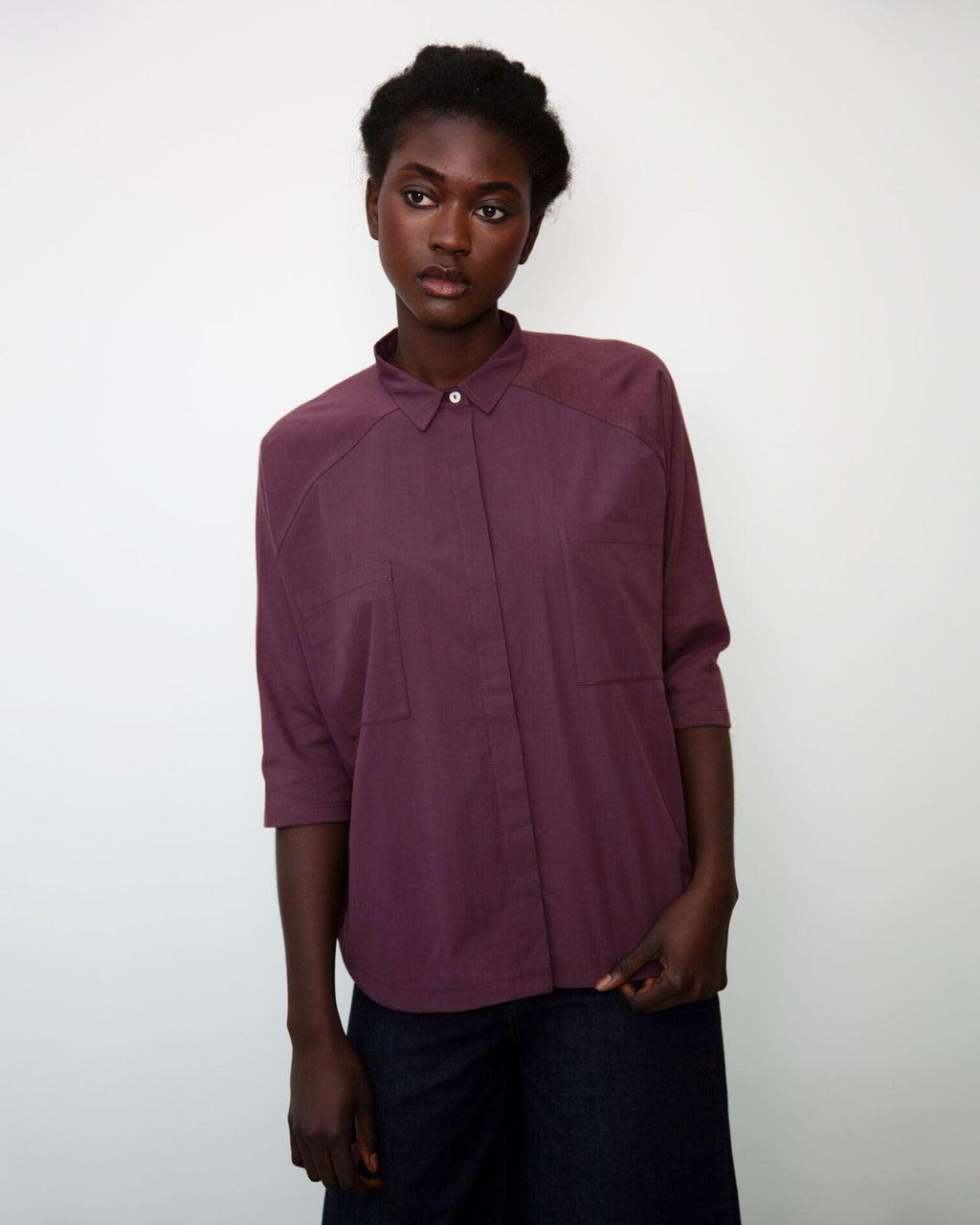 Stephanie Organic Cotton Shirt In Plum