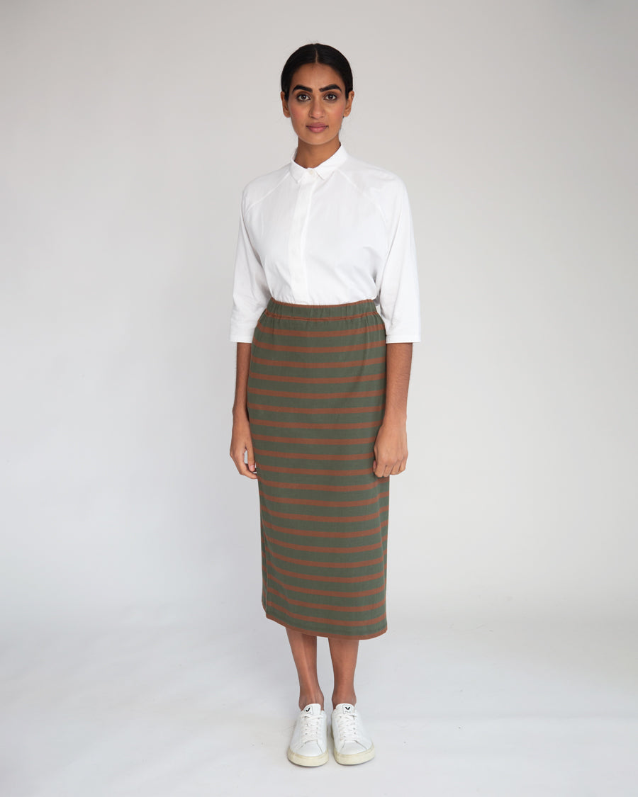 Pam-Sue Organic Cotton Skirt In Army & Tan