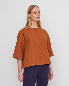 PATRICIA Organic Cotton Top In Coffee from Beaumont Organic