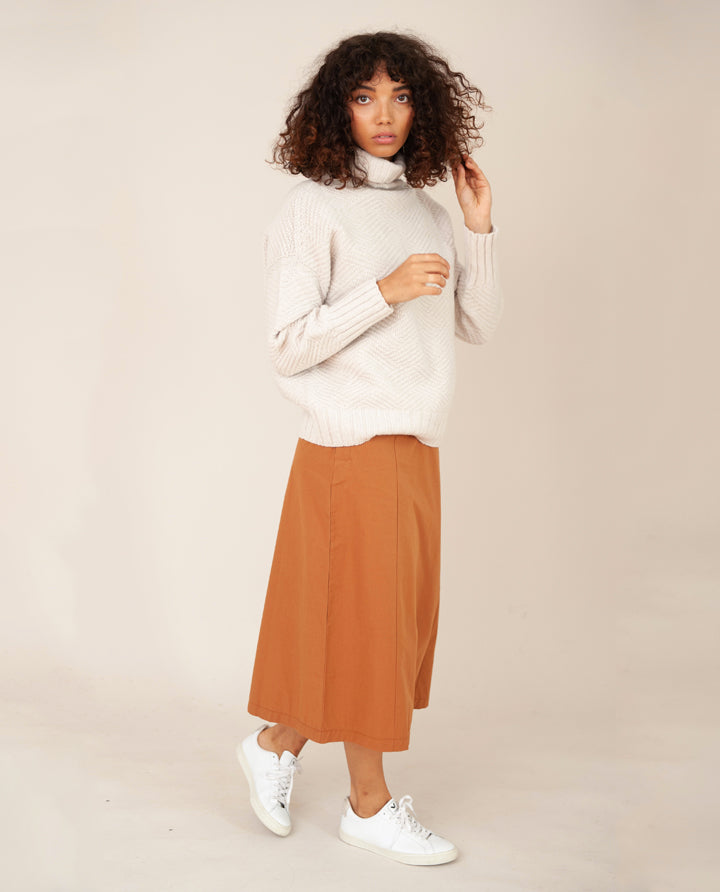 PHILLIS Organic Cotton Skirt In Coffee