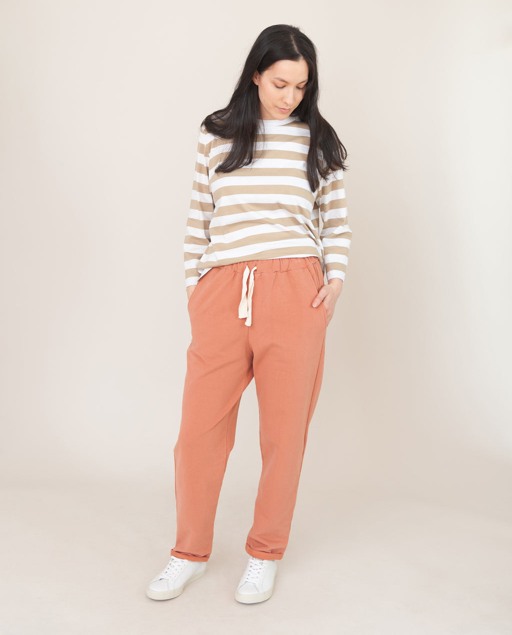 RACHEL Organic Cotton Trousers In Terracotta