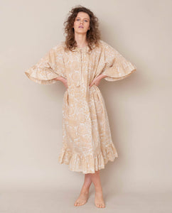 Radha Organic Cotton Dress In Cream Print