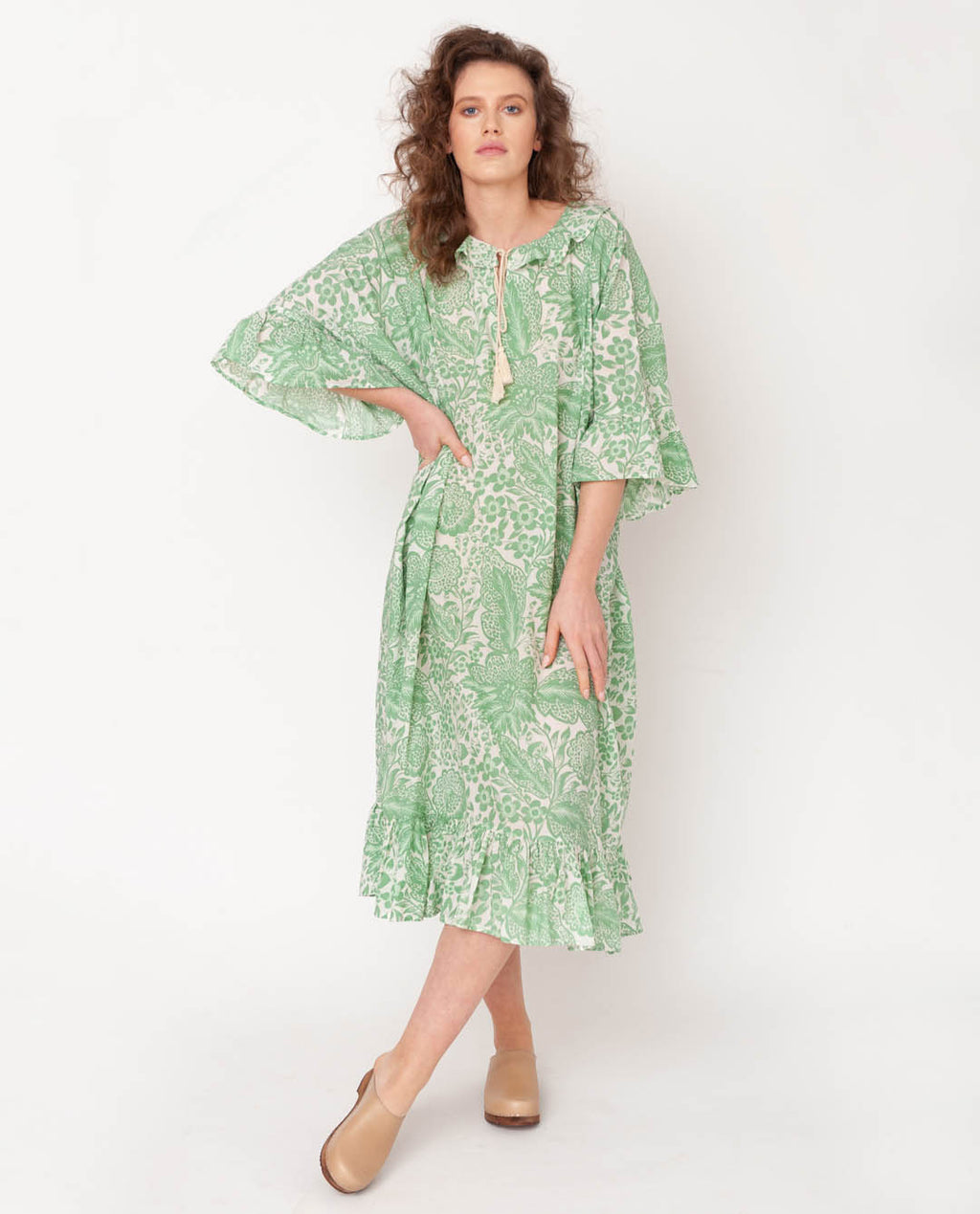 Radha Organic Cotton Dress In Green Print