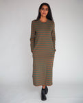 Raina-Sue Organic Cotton Dress In Army & Tan