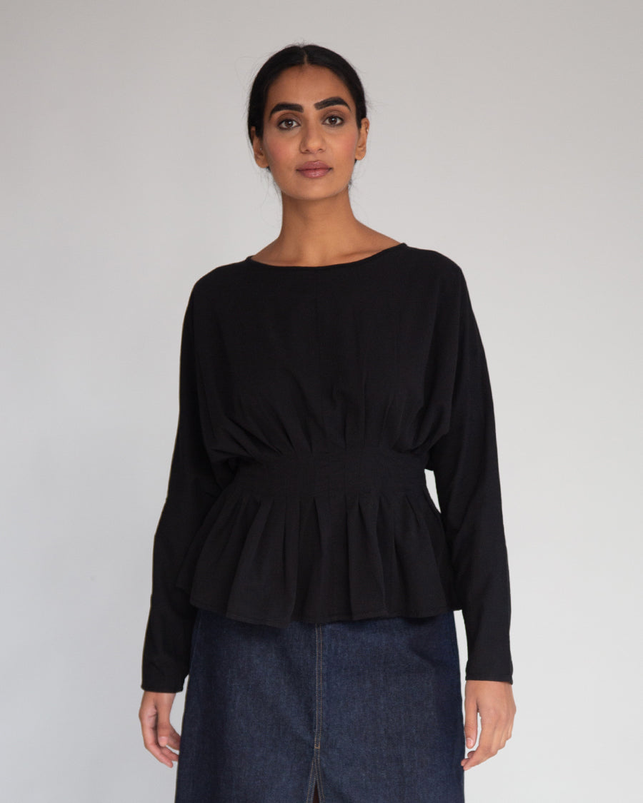 Raquel Organic Cotton & Tencel Top In Black