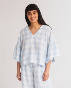 Rita-Gee Linen Gingham Top In Pale Blue