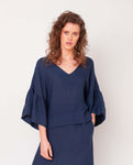 Rita-May Linen Top In Midnight
