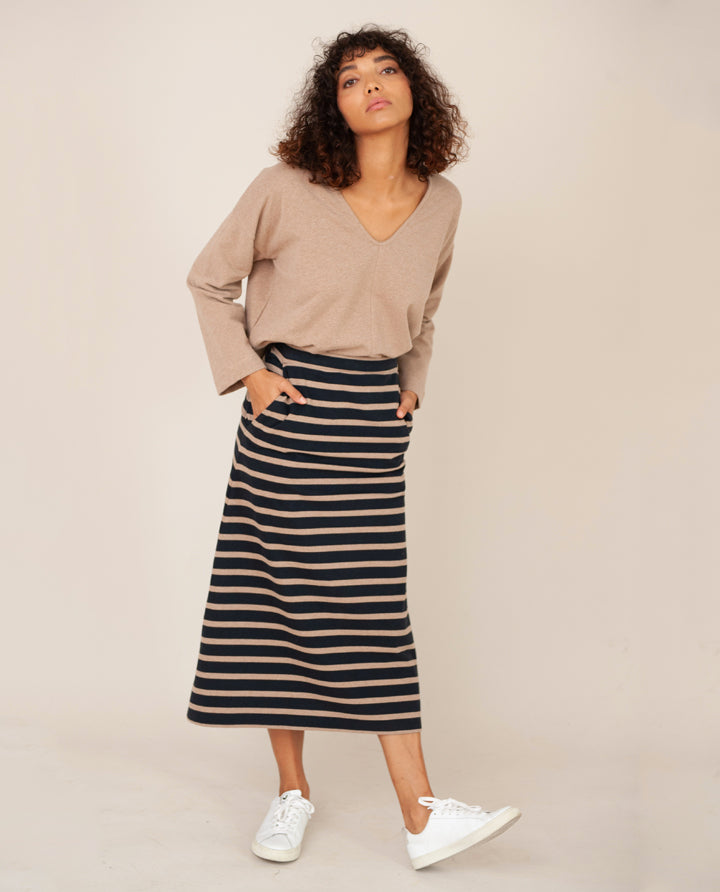 RONDA Organic Cotton Skirt In Deep Indigo & Stone