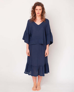 Rose Linen Skirt In Midnight