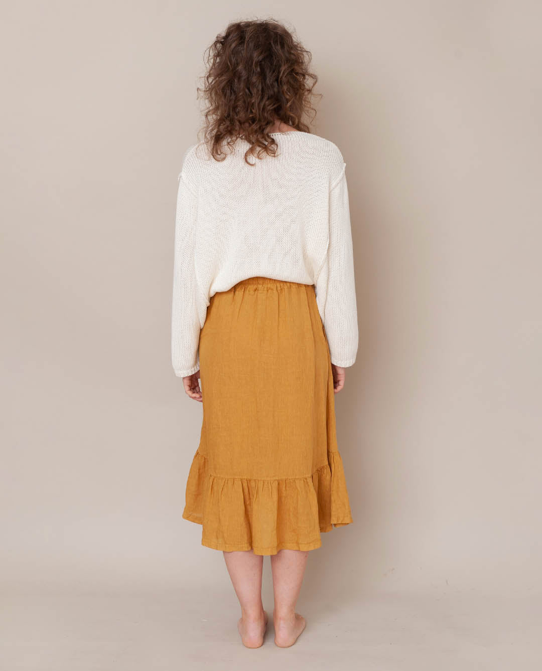 Rose Linen Skirt In Sun