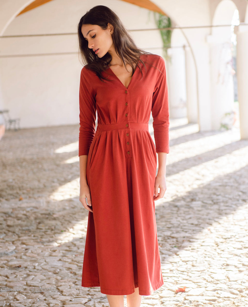 Ruth Organic Cotton Dress In Rust