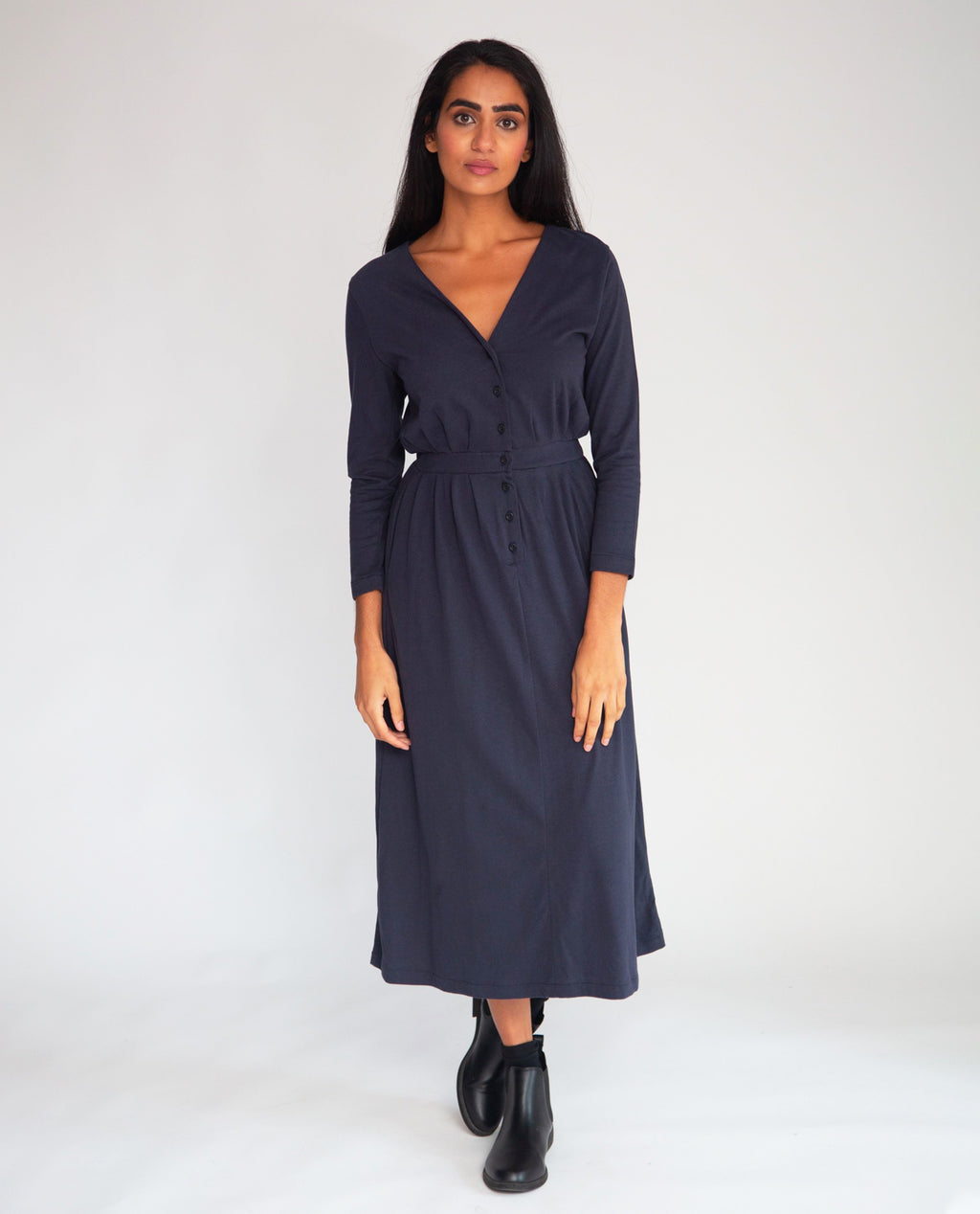 Ruth Organic Cotton Dress In Navy
