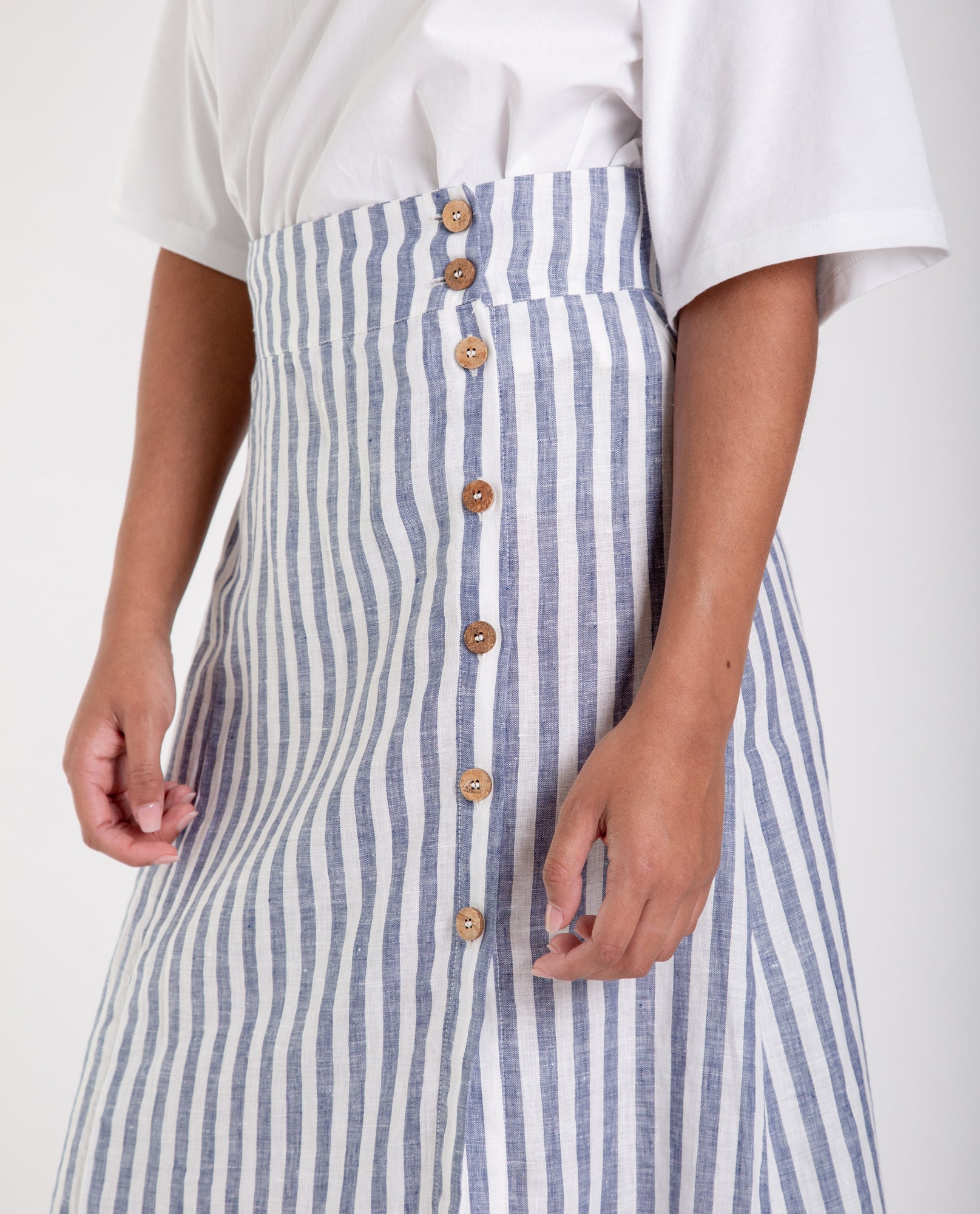SAMANTHA-SUE Linen Skirt In Blue Stripe