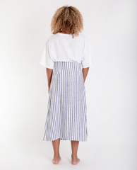 SAMANTHA-SUE Linen Skirt In Wide Blue Stripe