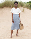 SAMANTHA Linen Skirt In Blue
