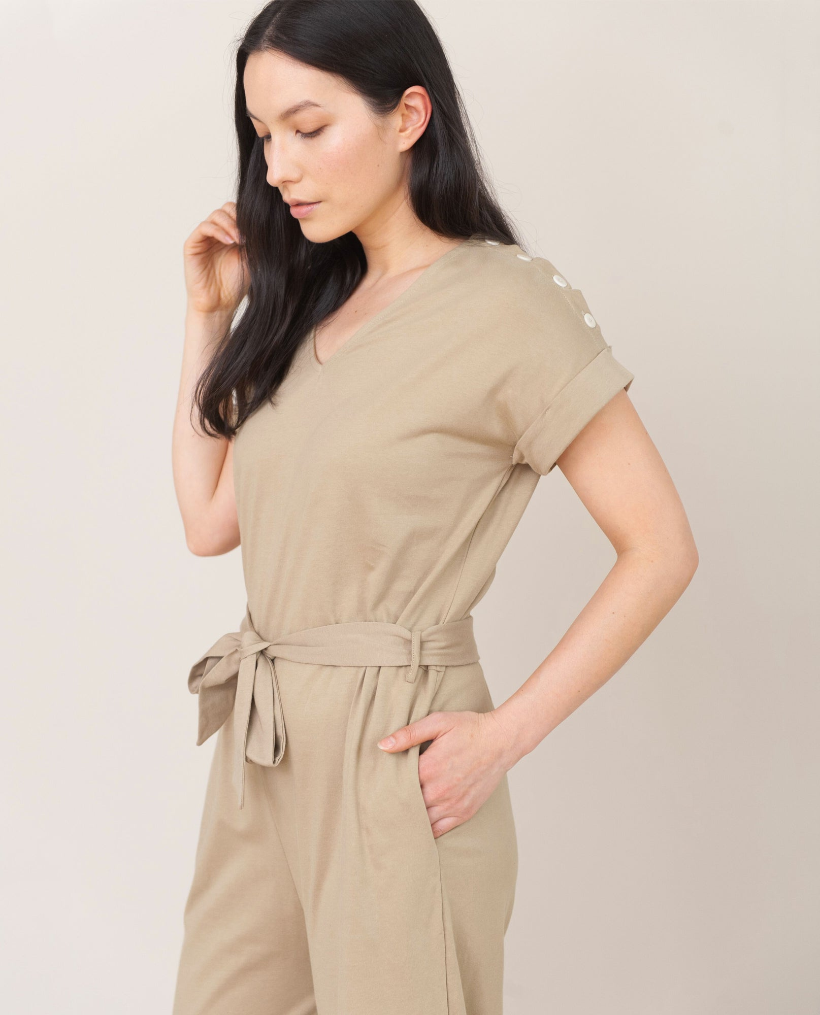 ROSANNA Organic Cotton Jumpsuit In Sand