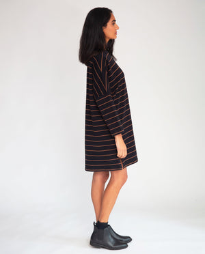 Sarasi-Sue Organic Cotton Dress In Black & Tan