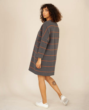 SARASI-SUE Organic Cotton Dress In Grey Marl & Cinnamon