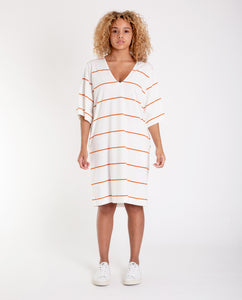 SASHA-SUE Organic Cotton Dress In Off White And Madder