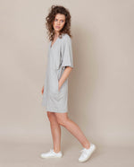 Sasha Organic Cotton Dress In Light Grey Marl