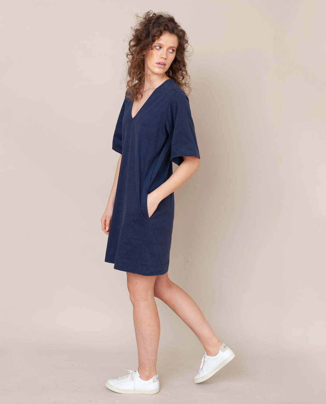 Sasha Organic Cotton Dress In Midnight