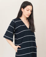 SAHSA-SUE Organic Cotton Dress In Deep Indigo And Off White