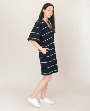 SASHA-SUE Organic Cotton Dress In Deep Indigo And Off White