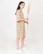 SASHA-SUE Organic Cotton Dress In Sand And Ecru