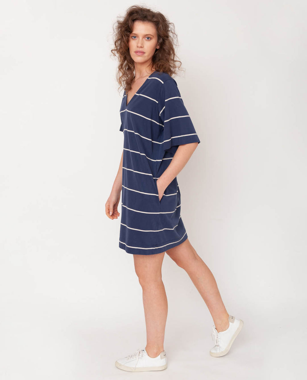 Sasha-Sue Organic Cotton Dress In Midnight & Natural