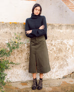 Shelby Organic Cotton Denim Skirt In Army