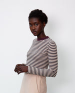 Shoba Organic Cotton Top In Charcoal & Plum