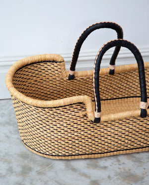 SISI Handwoven Moses Basket With Leather Handles