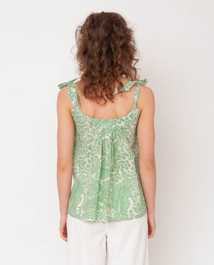 Sita Organic Cotton Top In Green Print