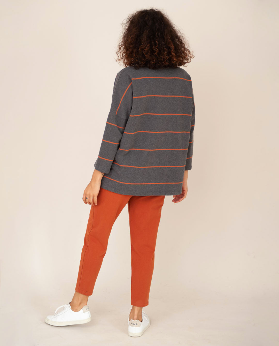 SOMA-SUE Organic Cotton Top In Grey Marl & Cinnamon
