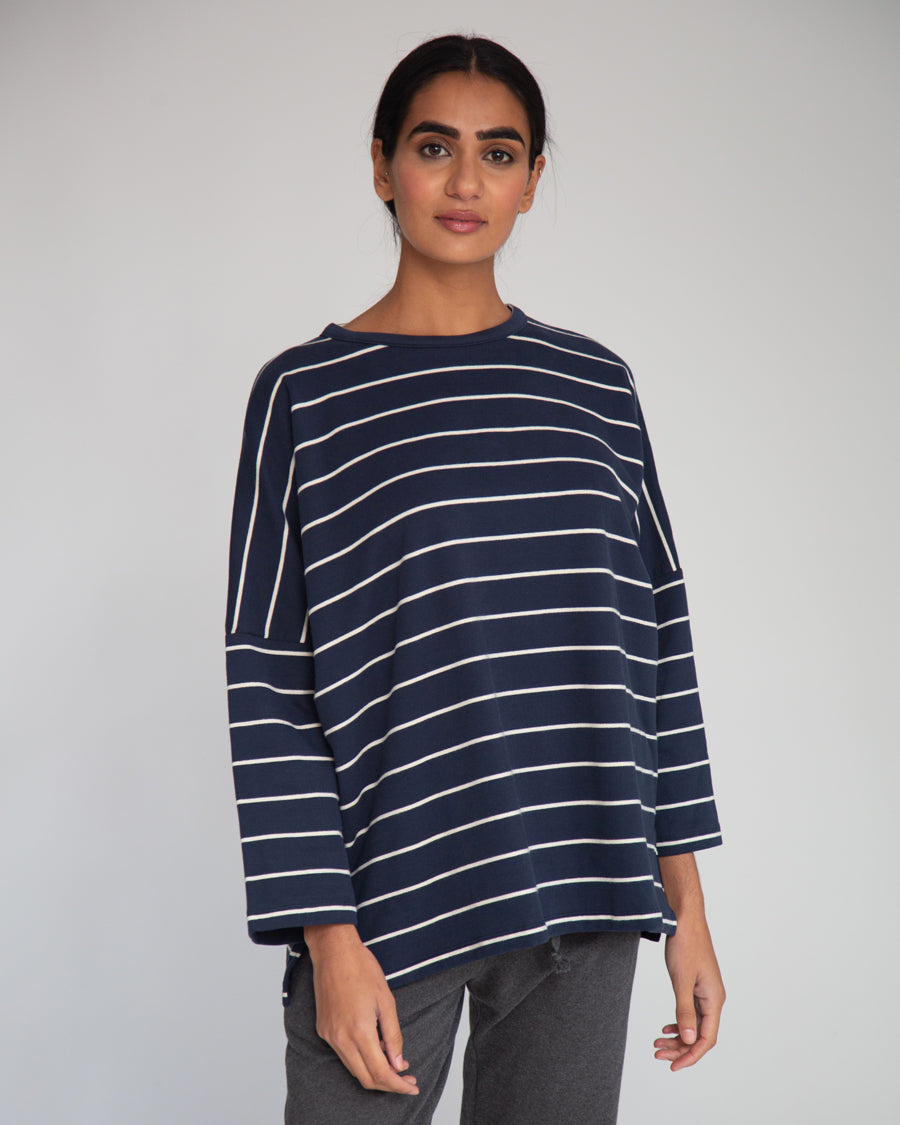 Soma-Sue Organic Cotton Top In Navy & Beige