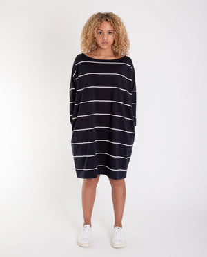 SOPHIE Organic Cotton Dress In Deep Indigo And Off White