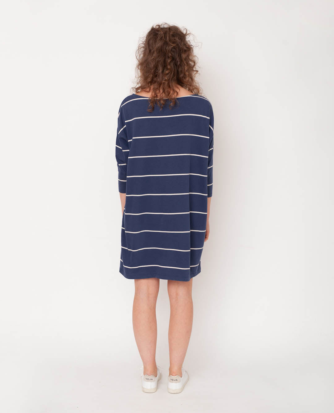 Sophie-Sue Organic Cotton Dress In Midnight & Natural