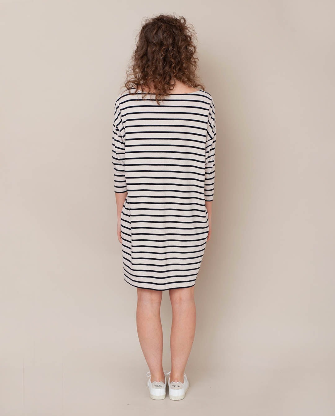 Sophie-Sue Organic Cotton Dress In Bone Marl & Black