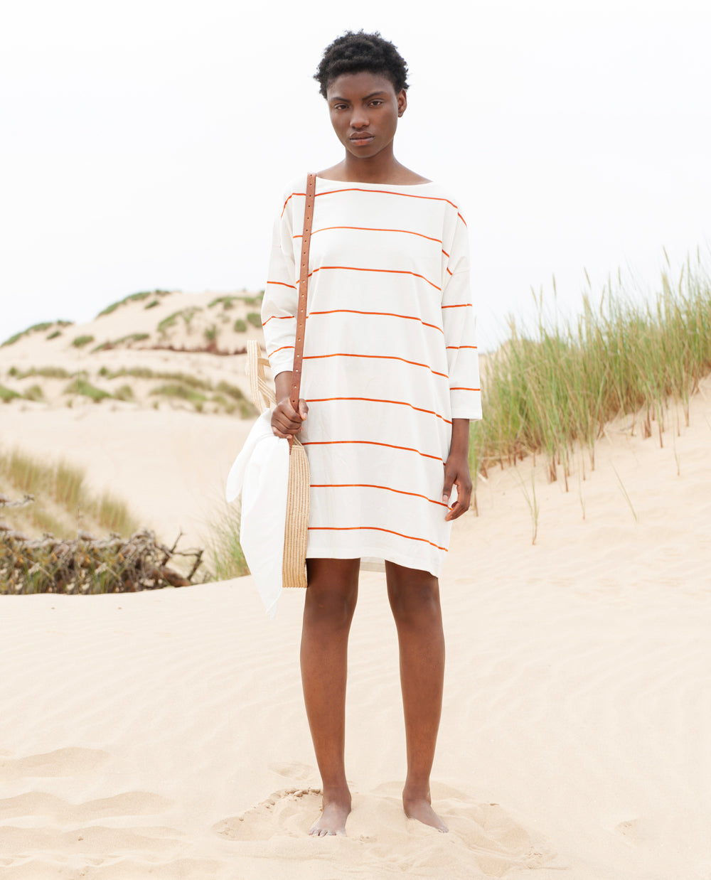 SOPHIE Organic Cotton Dress In Off White And Madder