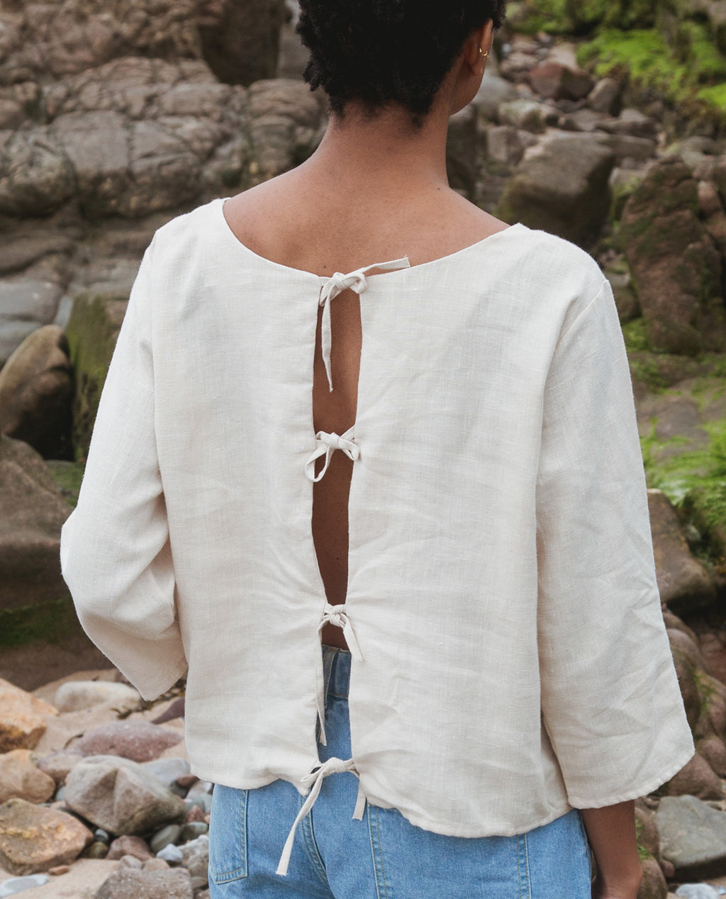 Fabia Linen Top In Cream.
