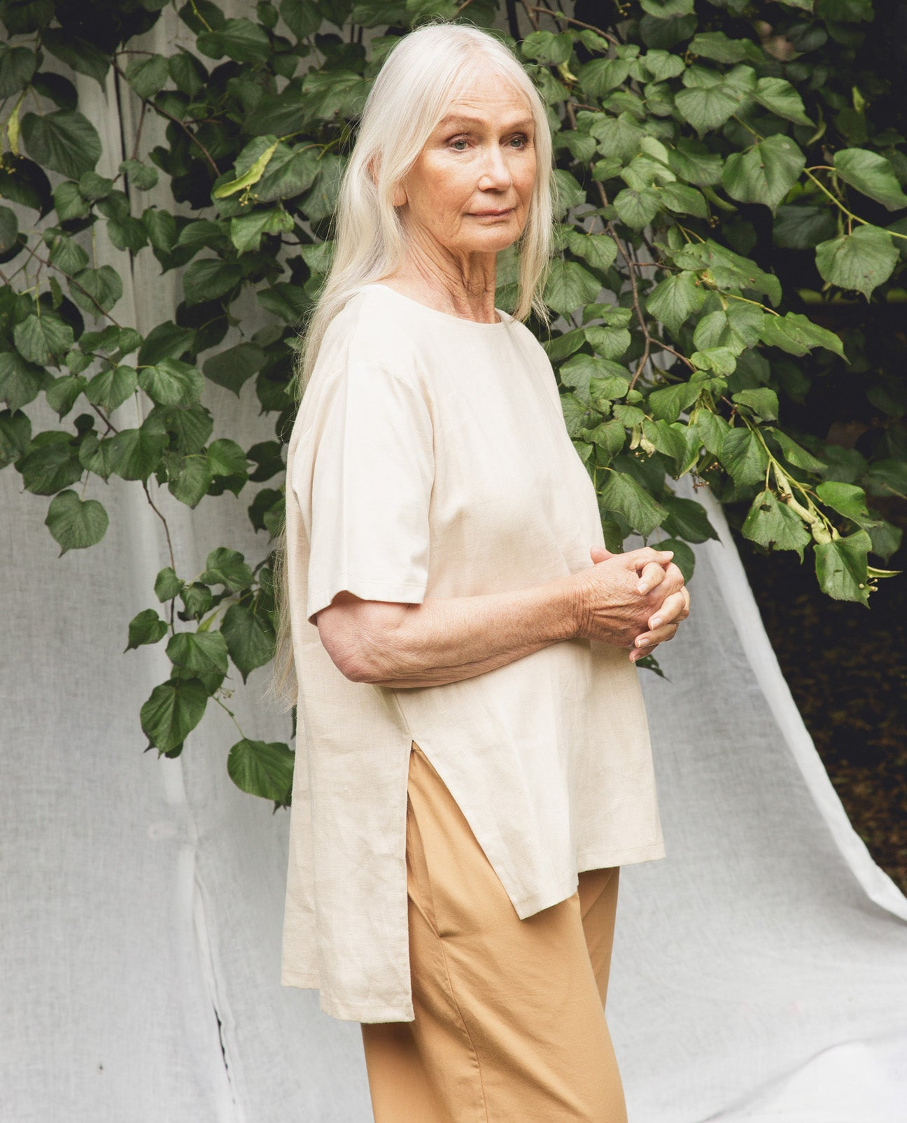 Hayley-May Organic Cotton & Linen Top In Cream.