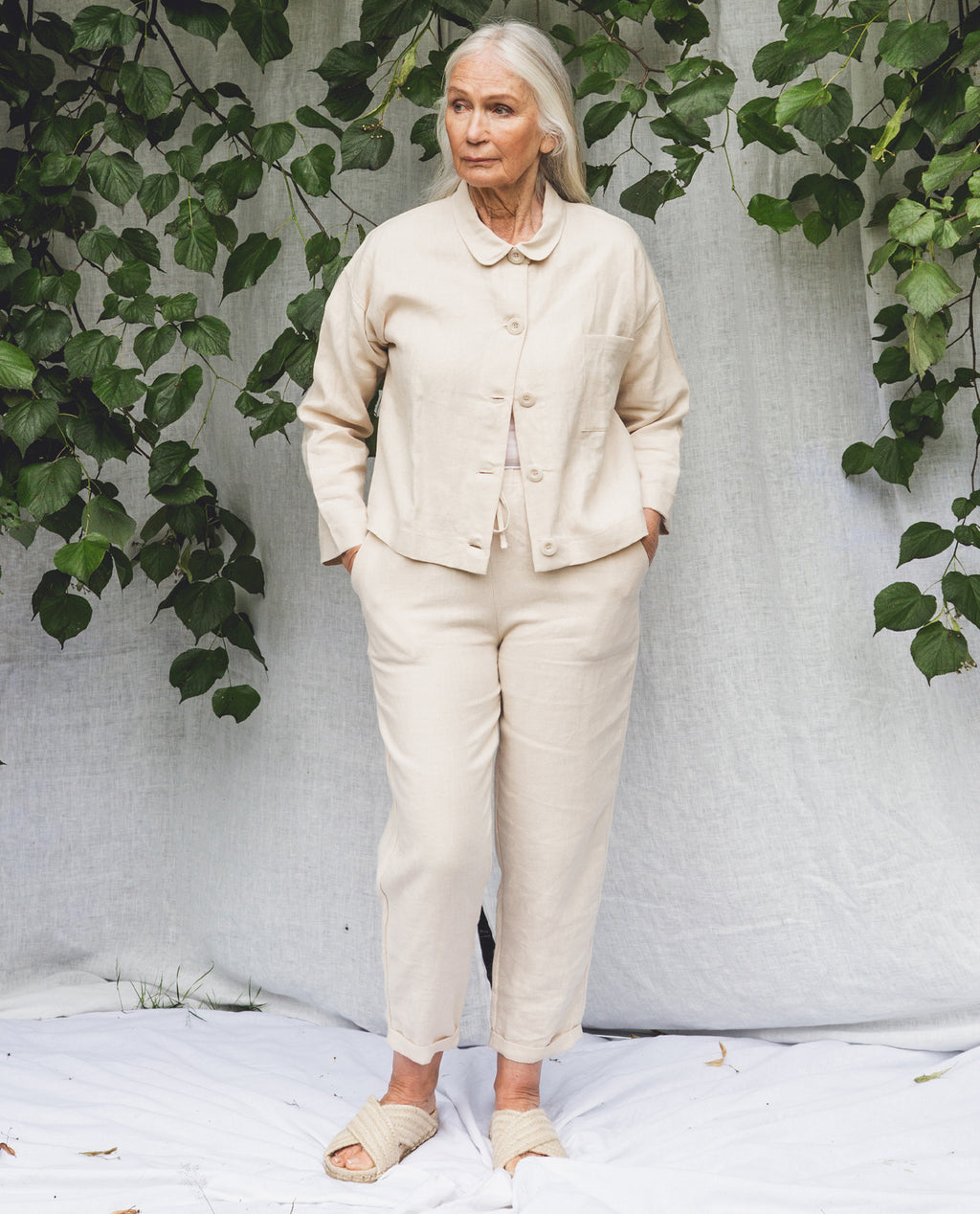 Kayley Linen Trousers In Cream.