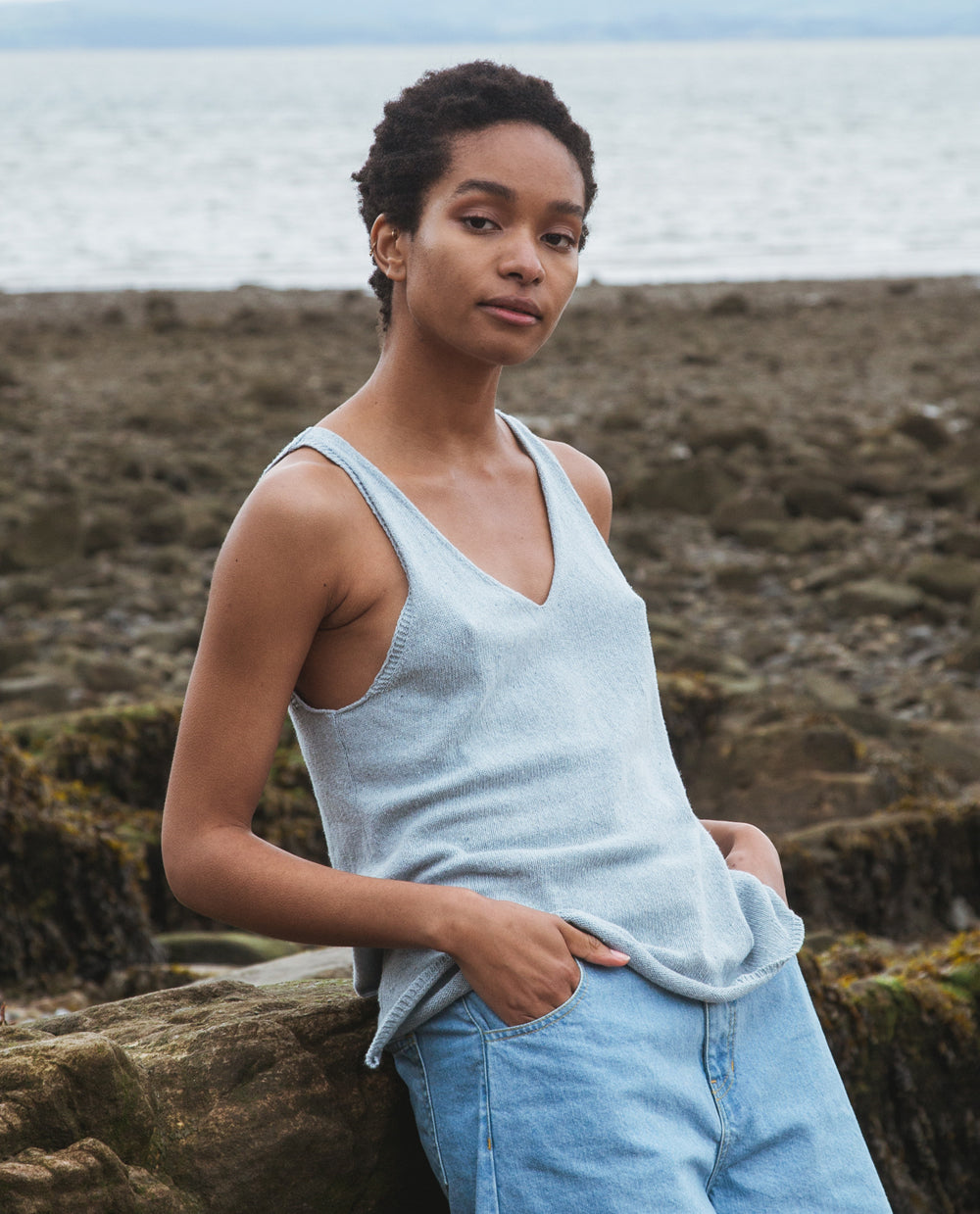 Stella Recycled Cotton Top In Pale Blue