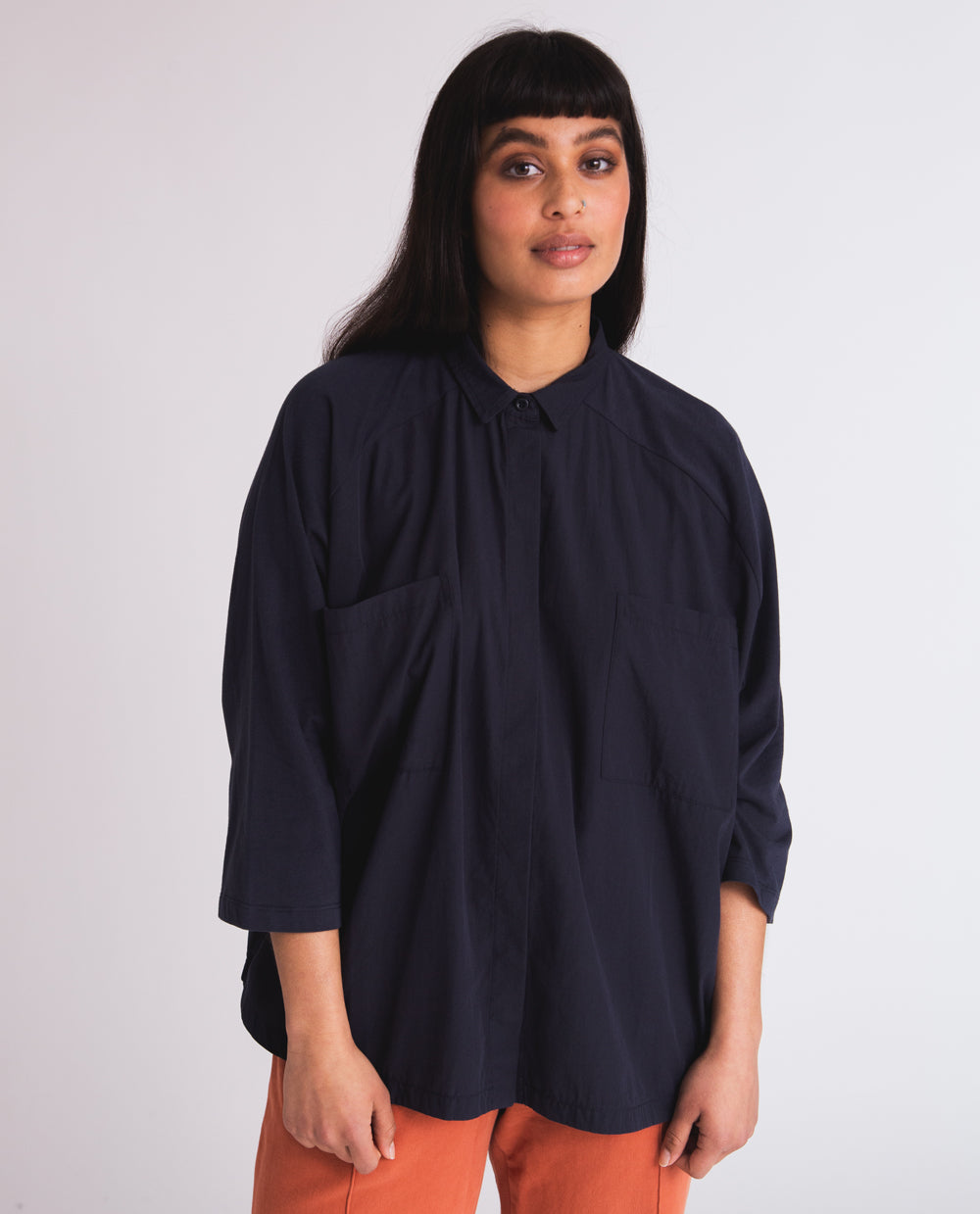 Stephanie Organic Cotton Shirt In Navy