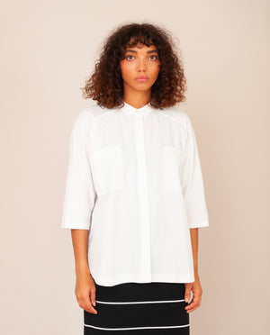 STEPHANIE Organic Cotton Shirt In Off White