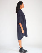 Sylvie Organic Cotton Dress In Navy