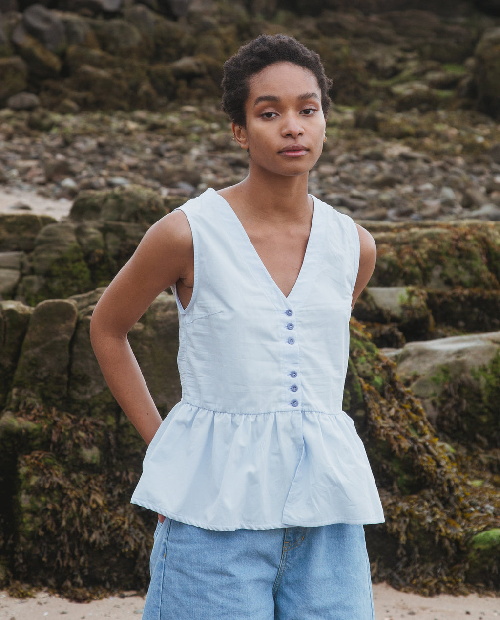 Tamsin Organic Cotton Blouse In Pale Blue.