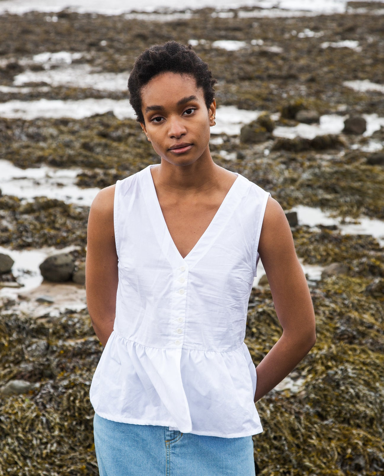 Tamsin Organic Cotton Blouse In White.