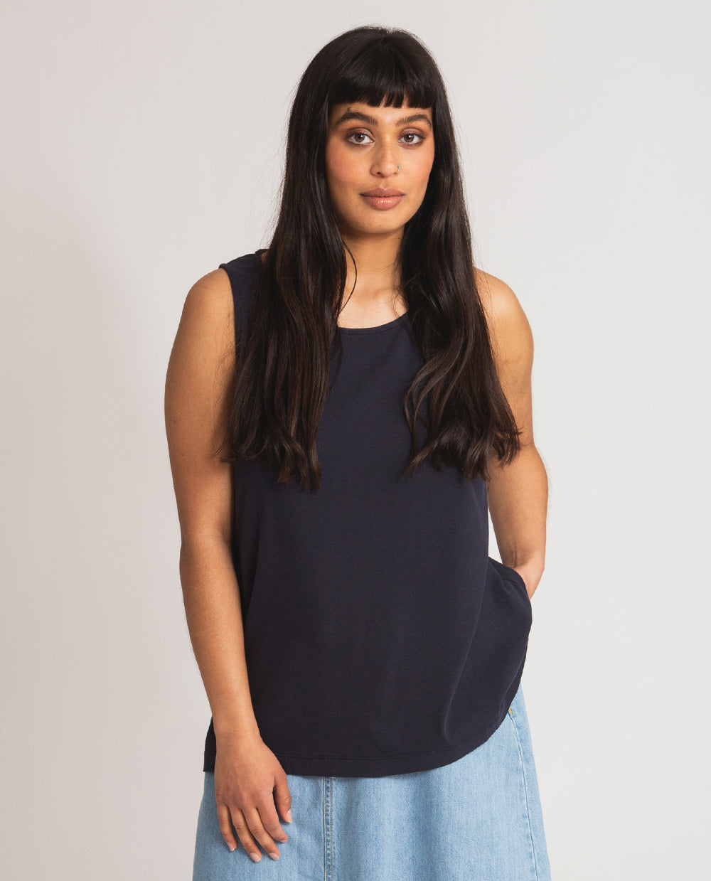 Thea Organic Cotton Top In Navy